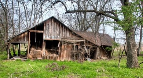 "The south side view of Hooker home reveals its second highes and best use after being abandoned for the first time, to wit: storage of hay, a not uncommon fate for abandoned residences in these environs. You can also see what appears to have been a ""picture"" window,"