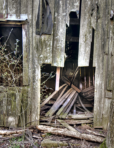 The north side of the house seems to have taken the brunt of Mother Nature's poundings. On many occasions, I will cautiously step inside an old structure to satisfy points of curiosity and take a shot or two. Hooker house is the exception. Fear and trepidation are the rulle here.