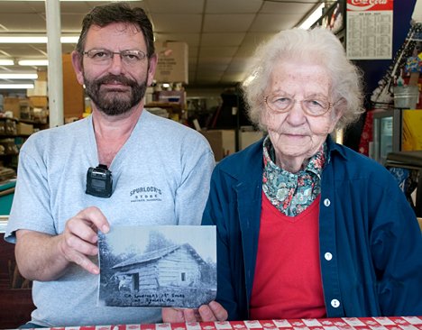 Randy Spurlock and his mother, Dorothy smile as they show us the first Spurlocks Store in Squires, Missouri. The store was opened in 1901 by C.M. Spurlock, Randy's grandfather and Dorothy's father-ini-law.