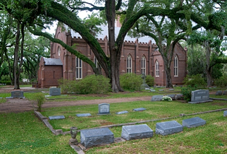 Grace Episcopal Church in St. Francisville LA. The congregation had its start in 1827. It was invested as a Parish in 1839. The church was shelled in the War Between the States. Final restoration was completed in 1880. The church grounds include a large cemetery. Birthdates in the 1700s are frequently noted on gravestones in the cemetery.