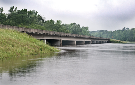 On Mother's Day, 2009, the Saline River is lapping at the bottom of the UA Highway 63 bridge, north of Warren AR.