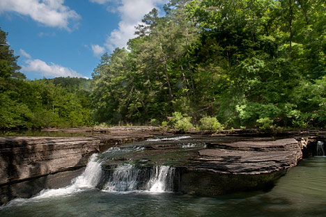 Haw Creek Falls at Haw Creek National Campground, Hwy. 123 southeast of Pelsor, Arkansas.