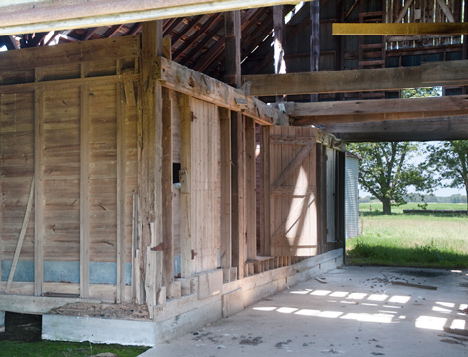 These storage rooms in the barn are a post-mule era addition. The area above the rooms provides a home for a nice sized barn owl.