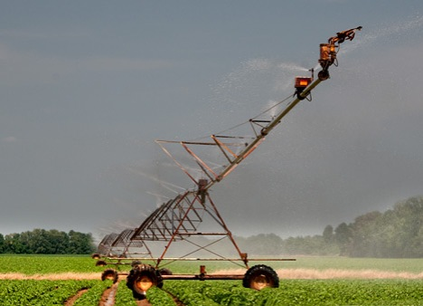 While this center pivot irrigation device has the appearance of a turbocharged praying mantis ready to pounce on you, its purpose is much more kind.