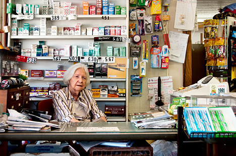 Margaret Phillips holding down the fort in her store, L.M. Phillips General Merchandise in Fountain Hill, Arkansas.