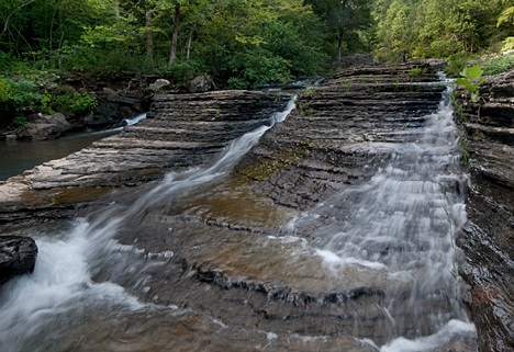 "The ""middle fingers"" of Six Finger Falls on Falling Water Creek near Ben Hur, Arkansas"