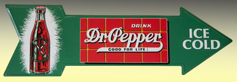 "Since a fillin' station was a good place to grab a cole-drank,* it seems appropriate to include the doctor's sign. It is emblazoned with a bottle reminiscent of their long abandoned slogan, ""Drink Dr. Pepper at 10, 2 and 4. *A term used by southerners to describe a chilled, carbonated drink."