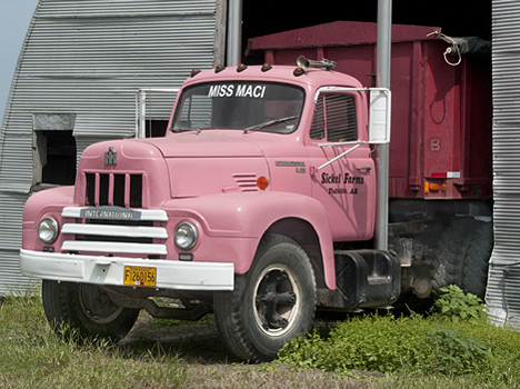 Miss Marci, Mason Sickel's '63 pink International Harvester R185 tractor