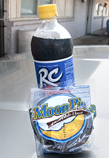 RC Cola and a Moon Pie. Can be a breakfast, lunch or dinner substitute or a convenient snack when the spirit moves one in that direction.