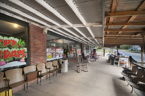 The expansive front porch at Carroway's General store in Ida, Louisiana