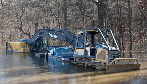 Construction equipment under water