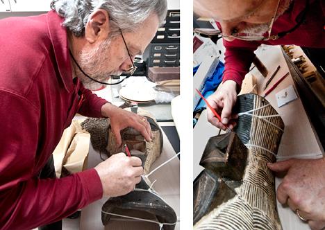 Dana Mitchell repairing broken mask