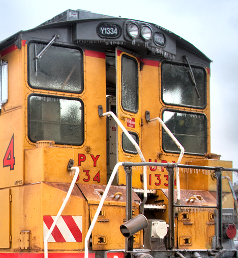 Close up of locomotive cab