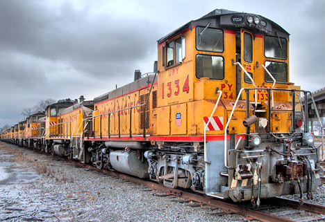 Switch engine locomotives parked