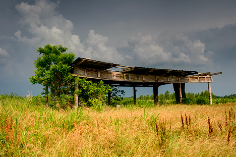 Old aircraft hangar north of Hensley AR