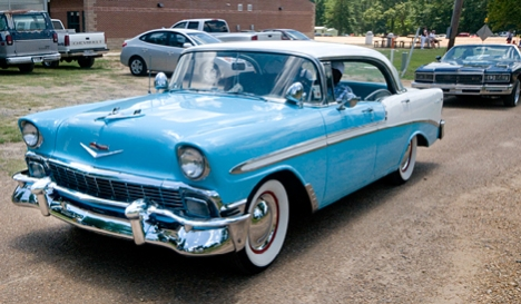 A fully restored 956 Chevy Bel Air four door. How sweet it is.