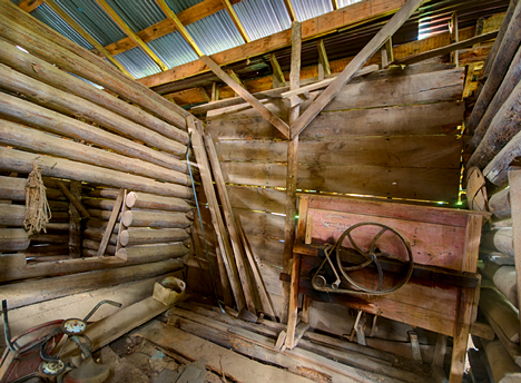 pea sheller in barn room