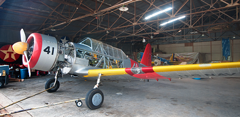 Vultee BT-13 undergoing maintenance.