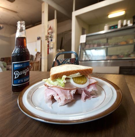 Longnecker Barq's Root Beer and huge sandwich