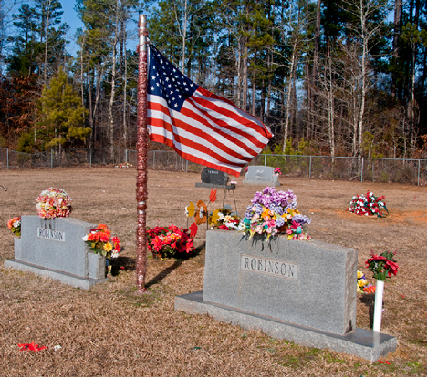 Grave site with American flag