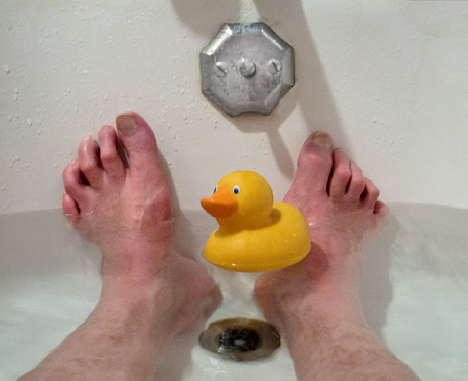 rubber duck in the tub