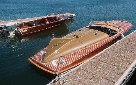 Cadillac Boats 14' foot wood boat and Chris Craft Cobra