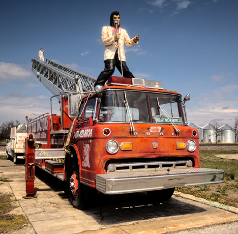 Elvis on a fire truck