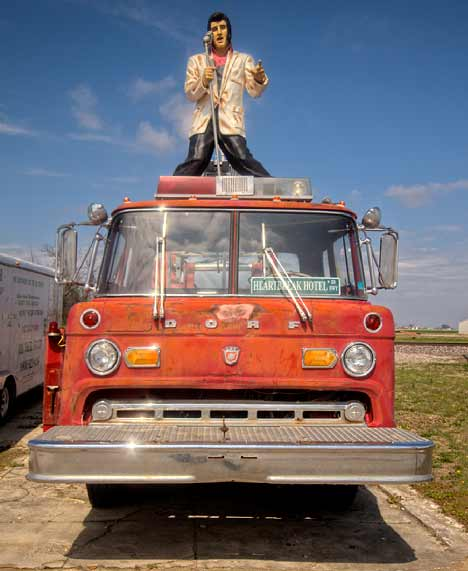 Elvis on Dickey Tree Services fire truck