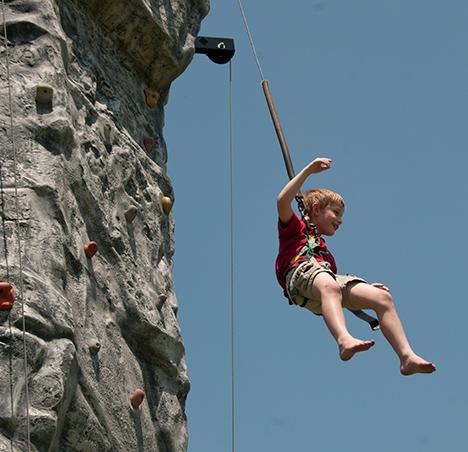 Rock climbing boy