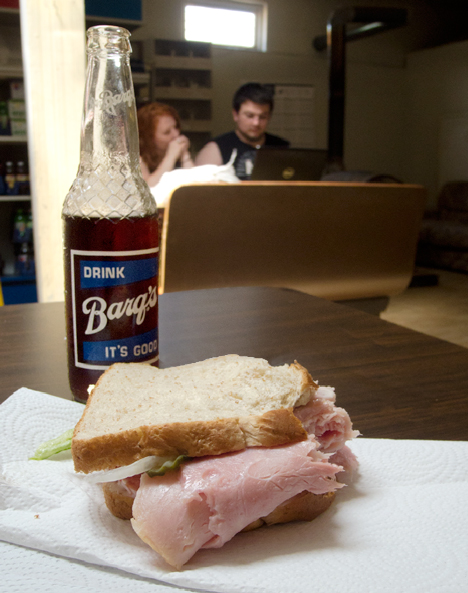 sandwich and Barq's Root Beer