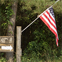 flag in woods