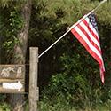 flag in woods