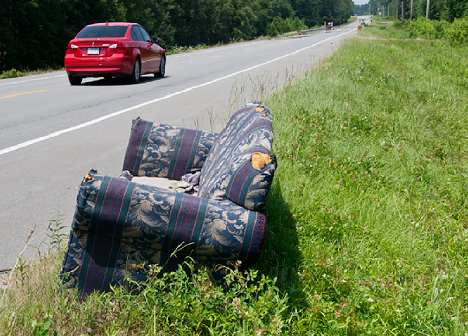couch on the roadside