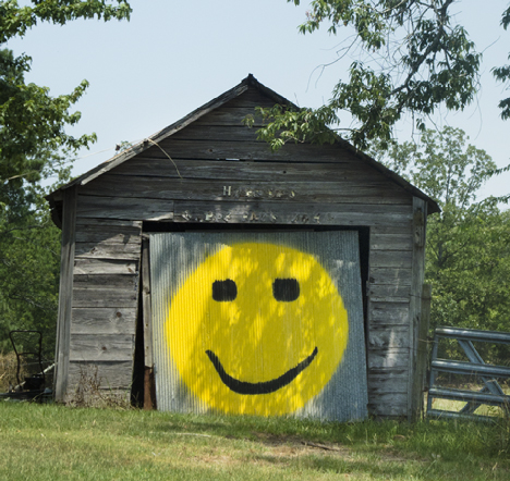 Garage with smiley face