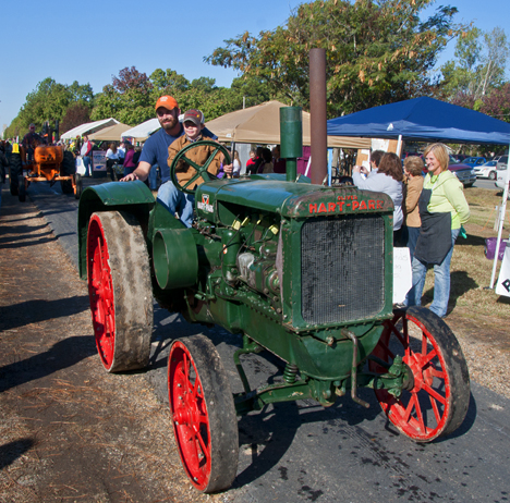 antique farm tractor in parade