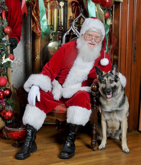 Santa with German Shepherd