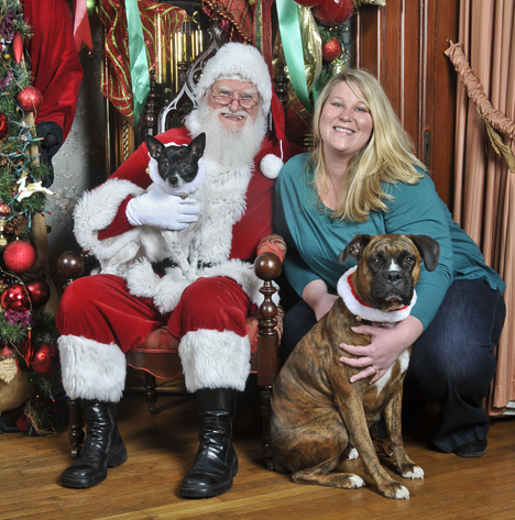 Santa, woman, and dogs