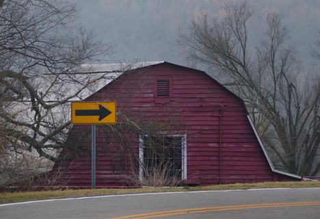 Barn below the highway grade