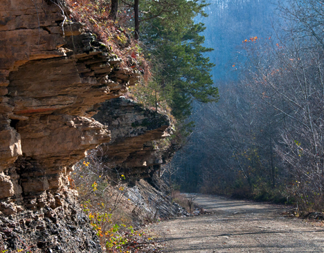 Bluffs on County Road 22 in Stone County, Arkansas.