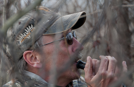 hunter calling geese