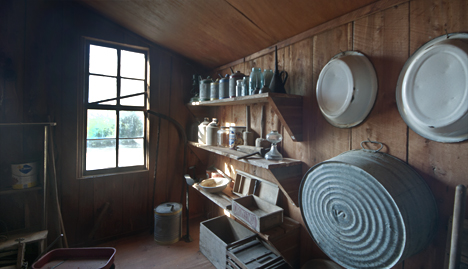 Storage room wall with period items