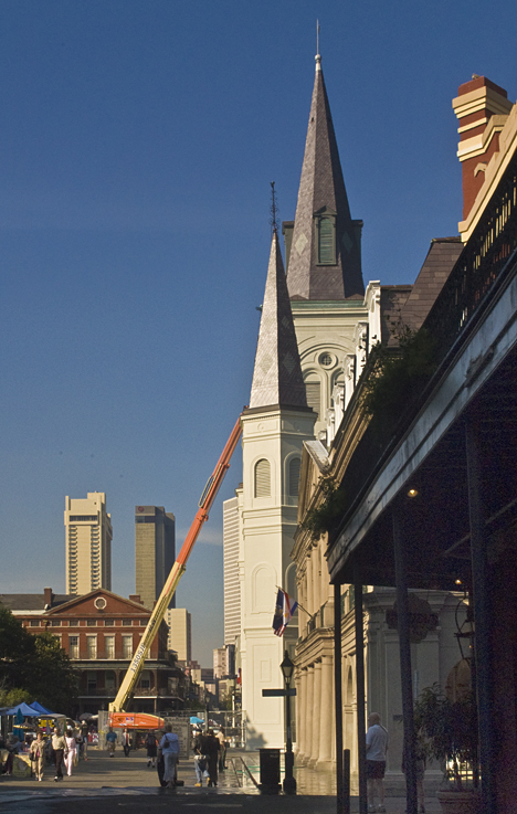 Maintenance on St Louis Cathedral in New Orleans