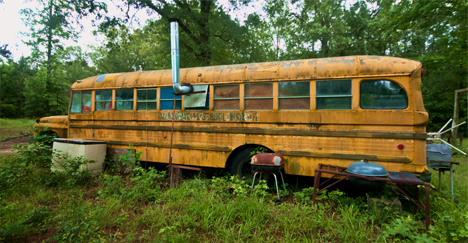 old school bus at deer camp in south arkansas