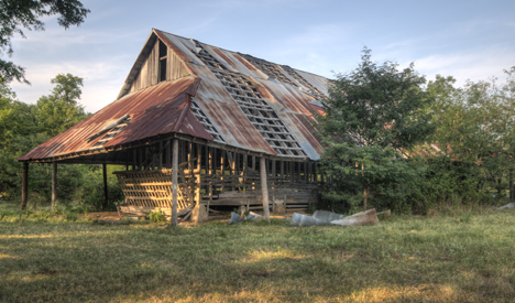 The hay barn from the west end