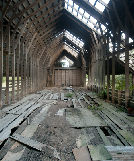 interior of old hay barn