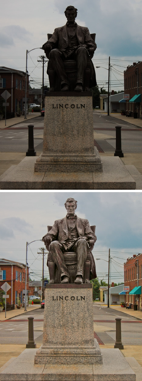 Abraham Lincoln statue Hodgenville Square Holdgenville Indiana back lit and adjusted