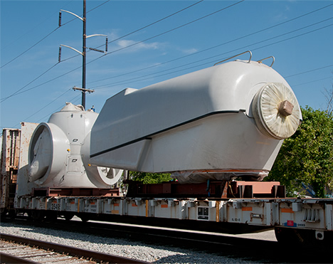 wind turbine components on rail car