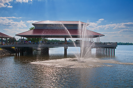 fountain and lakeside pavilion at saracen landing in pine bluff arkansas