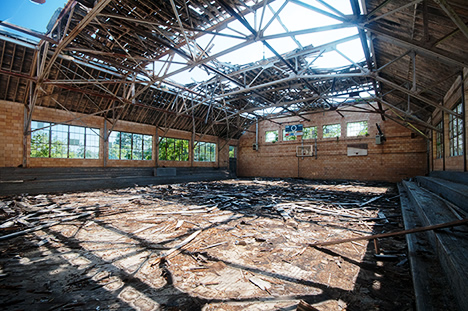 ruins of gym at Mount Rock School