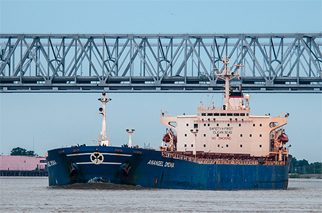 large ship in the mississippi river at new orleans